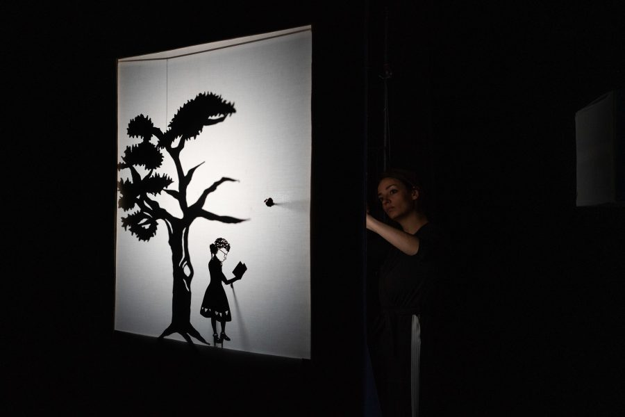 A shadow screen on the left of the image is black and white and shows the silhouette of a short tree with some leaves on it, an apple is falling from the tree to the ground where a shadow puppet of Kate stands. This is young Kate with curly hair in bunches, glasses and wearing a dress that has detail on the hem, she is reading a book. To the right of the screen a woman is just visible holding an arm up to operate the puppets.